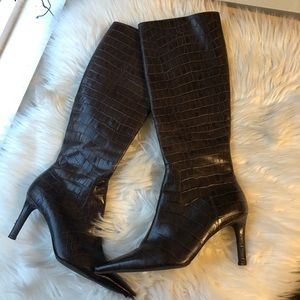 Ralph Lauren brown snakeskin AlySheya boots 6B
